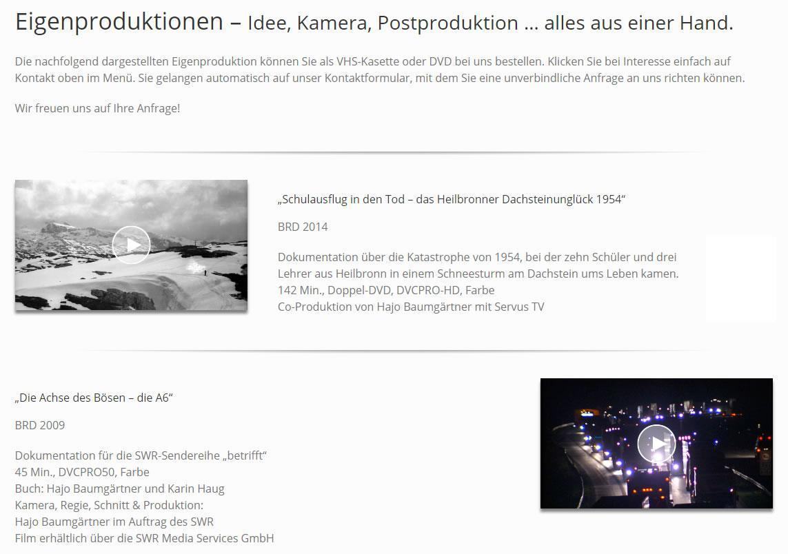 Filmproduktion, Videoproduktion - Eigenproduktionen in  Winterhausen, Frickenhausen a.Main, Sulzfeld a.Main, Reichenberg, Sommerhausen, Eibelstadt, Würzburg oder Biebelried, Theilheim, Randersacker