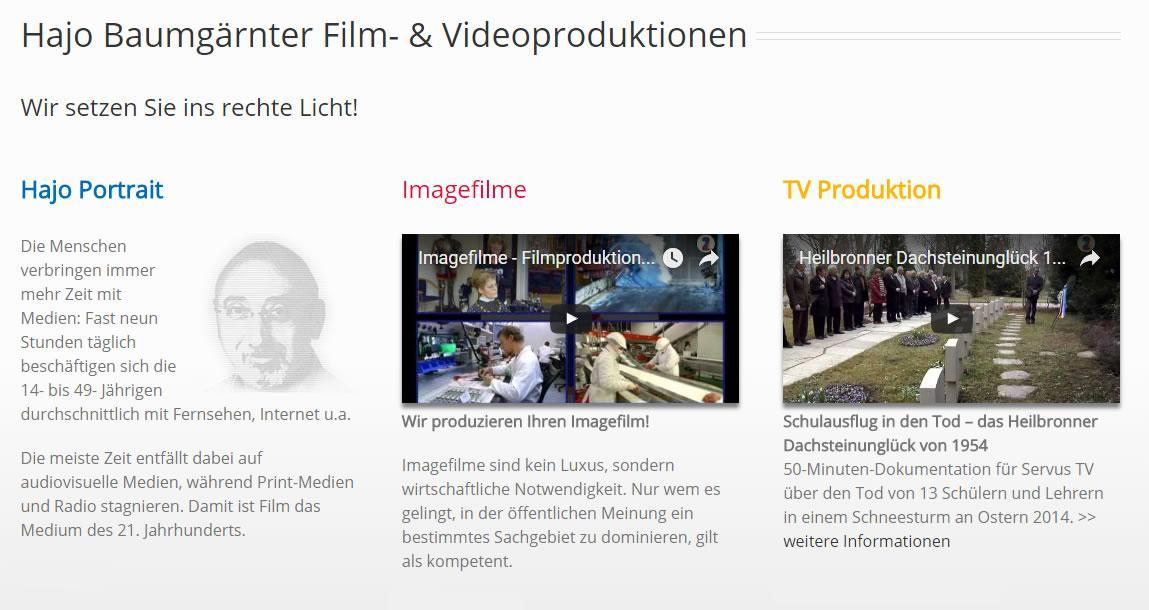 Videoproduktion, Filmproduktion Siegelsbach - Hajo-Baumgaertner.de: Imagefilme, Unternehmenvideos, Werbefilme, Tonstudio, Luftvideos, Digitalisierungen / Restaurierungen, Videomarketing, Youtube Videos, Veranstaltungen Filme