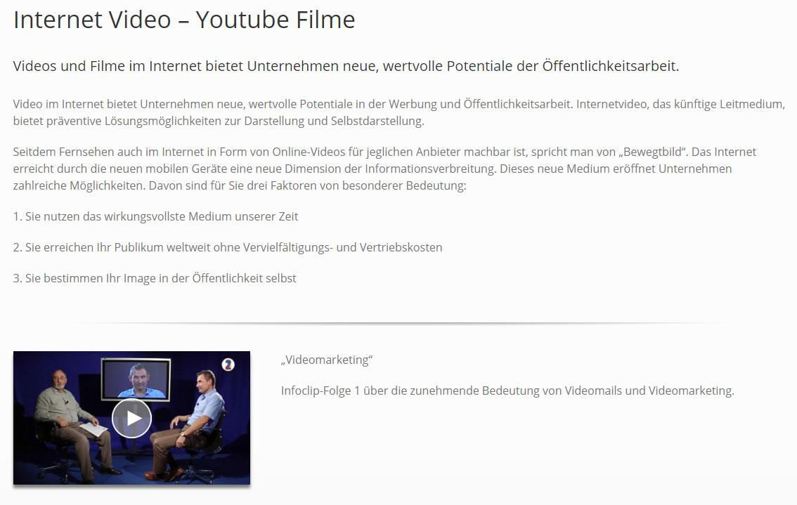 Youtube Videos, Internetvideos, Videowerbung aus  Mauer